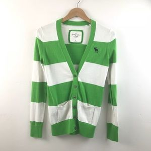 Abercrombie Green and White Striped Cardigan